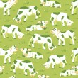 Cows on the field seamless pattern background — Stock Vector