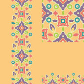 Set of colorful shapes seamless pattern and borders backgrounds — Stockvector