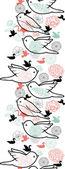 Kuş silhouettes dikey dikişsiz desen arka plan sınırı — Stok Vektör