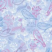 Pastell fåglar och blommor sömlös bakgrund — Stockvektor