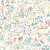 Cats among flowers seamless pattern background — Stock Vector