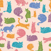 Colorful cats silhouettes seamless pattern background — Stock Vector