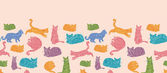 Colorful cats silhouettes horizontal seamless pattern background border — Stock Vector