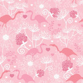 Pink flamingo in love vector seamless pattern background — Stock Vector