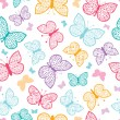 Stok Vektör: Floral butterflies vector seamless pattern background
