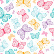 Stock vektor: Floral butterflies vector seamless pattern background