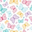 Floral butterflies vector seamless pattern background — Stock Vector