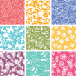 图库矢量图片: Set of nine animal vector seamless patterns backgrounds