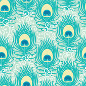 Peacock feathers vector seamless pattern background — Stok Vektör