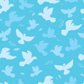Doves in the sky vector seamless pattern background — Stock Vector