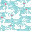 Swans in love vector seamless pattern background — Stockvectorbeeld
