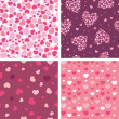 Set of four romantic hearts seamless patterns backgrounds - Image vectorielle