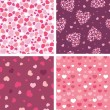 Set of four romantic hearts seamless patterns backgrounds - Vettoriali Stock 