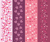 Set of four romantic hearts vertical seamless patterns border — Stock Vector