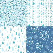 Set of four raindrops seamless patterns backgrounds — Stock Vector