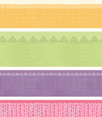 Set of four horizontal textile fabric textures seamless patterns — Stok Vektör