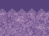 Lace grape vines horizontal seamless pattern background border — Stock Vector