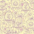 Doodle birdcages seamless pattern background - Stok Vektr