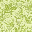 Green tea cups seamless pattern background — Stock Vector