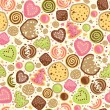 Colorful cookies seamless pattern background - Stock Vector