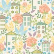 Houses among flowers seamless pattern background - Stock Vector