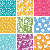 Set of nine business seamless patterns backgrounds — Stock Vector