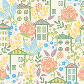 Houses among flowers seamless pattern background — Stock Vector
