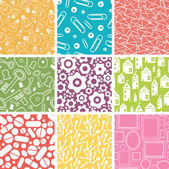 Set of nine household objects seamless patterns backgrounds — Stock Vector