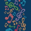 Colorful musical notes vertical seamless pattern background — Stock Vector