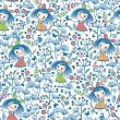 Girls in the flower garden seamless pattern background — Imagens vectoriais em stock