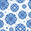 Blue abstract circles seamless pattern background - Vettoriali Stock