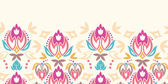 Abstract damask tulips horizontal seamless pattern background — Vector de stock