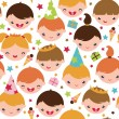 Kids at a birthday party seamless pattern background — Stock Vector