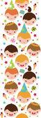 Niños en un fondo de cumpleaños fiesta de patrones sin fisuras verticales — Vector de stock