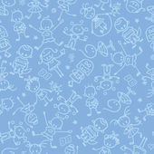 Kids playing seamless pattern background — Stok Vektör