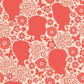 Meisjes silhouetten onder bloemen naadloze patroon achtergrond — Stockvector