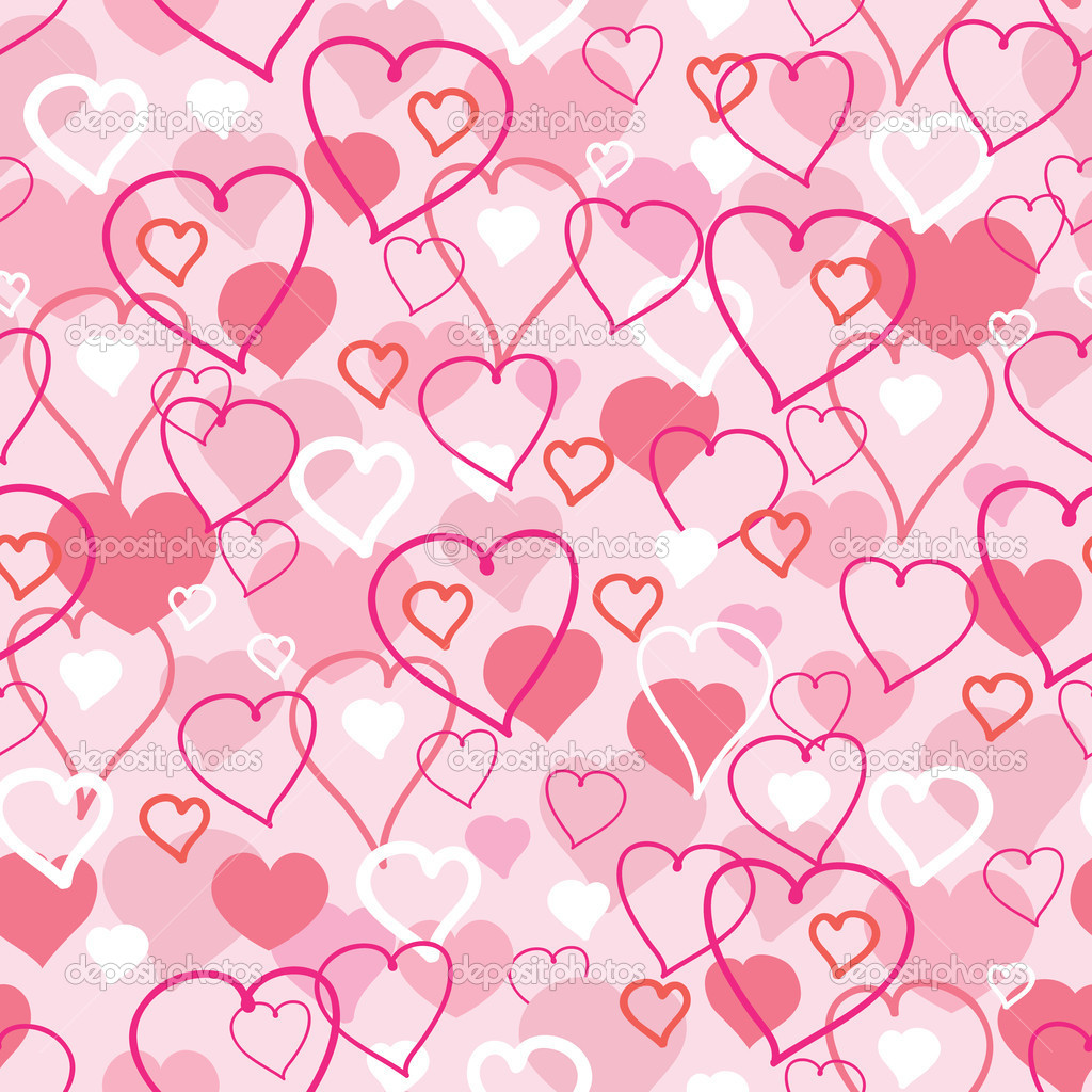 Vector Valentine's Day hearts seamless pattern background with hand drawn elements. — Stock Vector #18535269