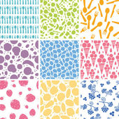 Set of nine food seamless patterns backgrounds — Stock Vector