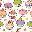 Stock Vector: Birthday muffins seamless pattern background