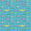 Moving houses on cars seamless pattern background - Image vectorielle