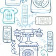 Vintage and modern telephones vertical seamless pattern - Векторная иллюстрация