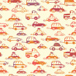 Vibrant cars seamless pattern background - 图库矢量图片
