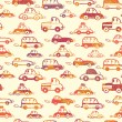 Vibrant cars seamless pattern background - Stock Vector