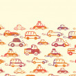 Vibrant cars horizontal seamless pattern background border - Stock Vector