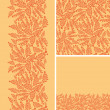 Set of abstract golden plants seamless pattern and borders backgrounds - Векторная иллюстрация