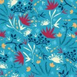 Painted abstract flowers and plants seamless pattern background - Векторная иллюстрация