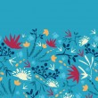 Painted abstract flowers and plants horizontal seamless pattern - Векторная иллюстрация