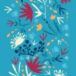 Painted abstract flowers and plants vertical seamless pattern - Векторная иллюстрация