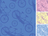 Set of frour tandem bicycles seamless patterns backgprunds — Stock Vector