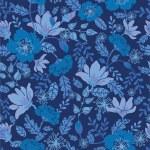 Dark night flowers seamless pattern background — Stock Vector